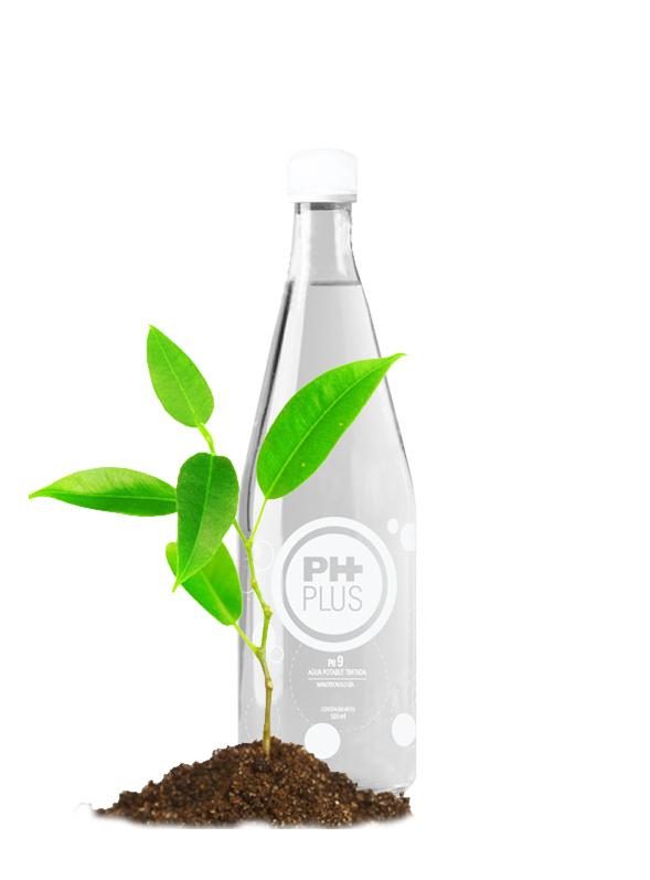 Agua ph plus en vidrio de 500 ml para llevar a casa