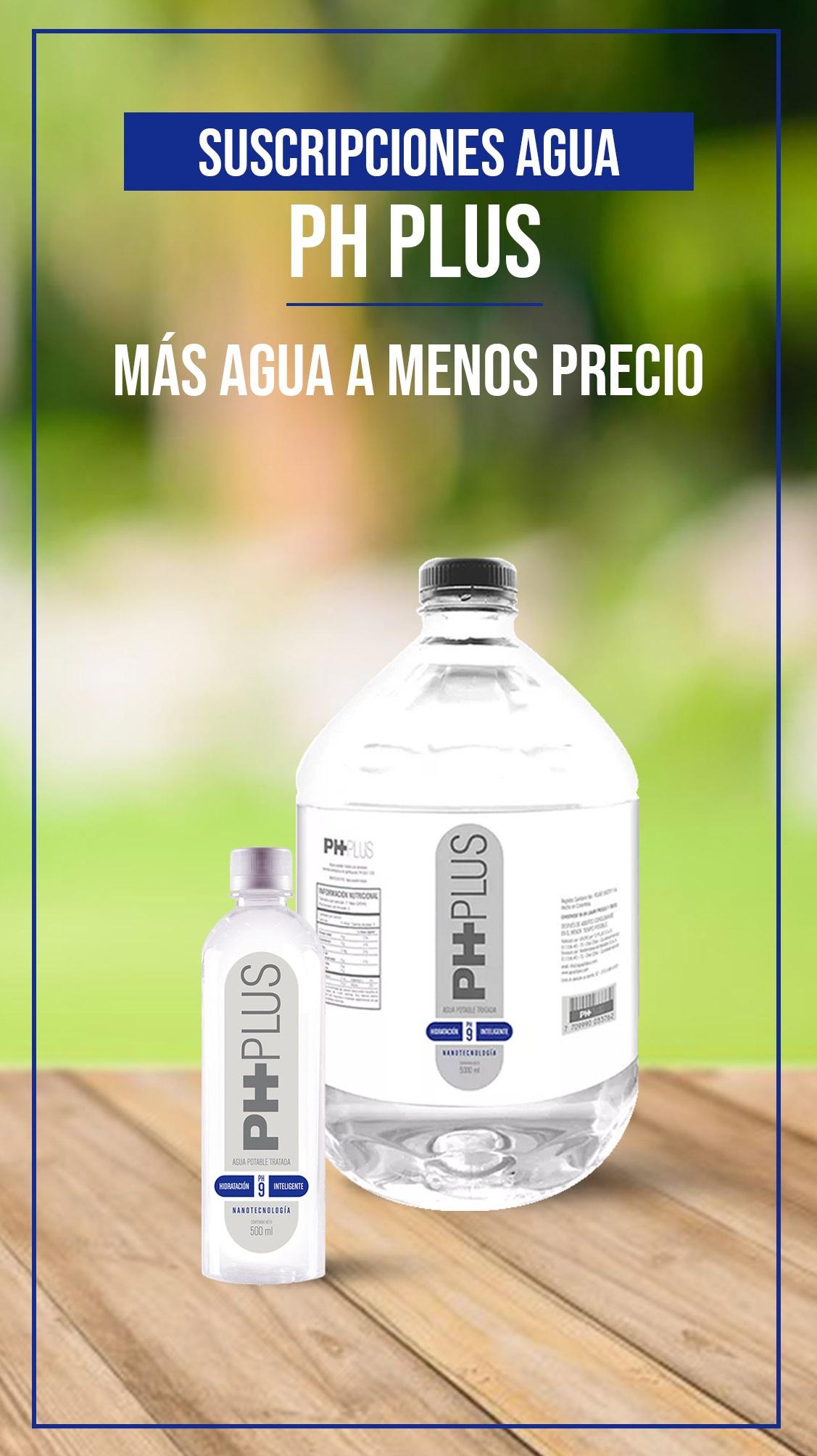 Suscripciones PH PLUS la mejor agua alcalina embotellada al mejor precio