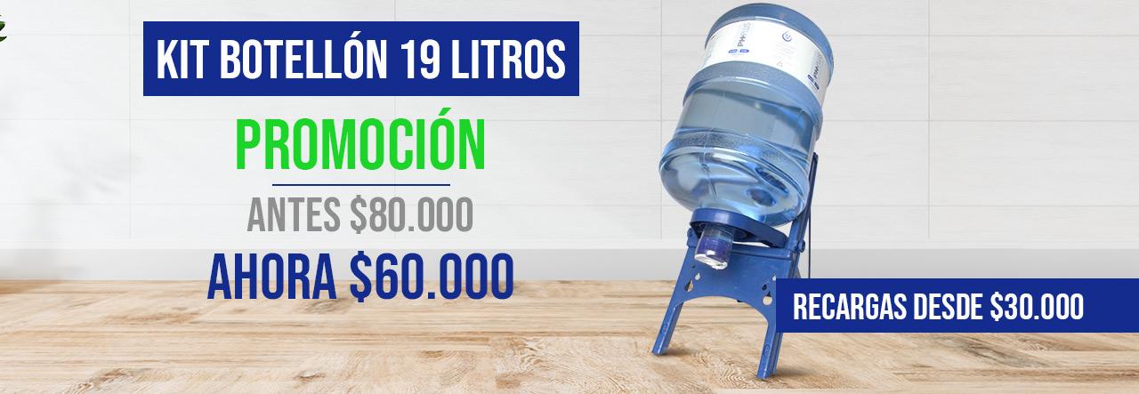 Promocion de agua alcalina botellón de 19 litros