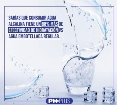 Sabias que consumir agua alcalina tiene un 88% de más efectividad al momento de hidratarte que otras aguas embotelladas o regulares.